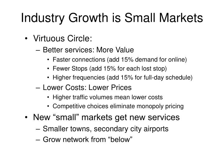Industry Growth is Small Markets