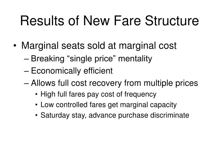 Results of New Fare Structure
