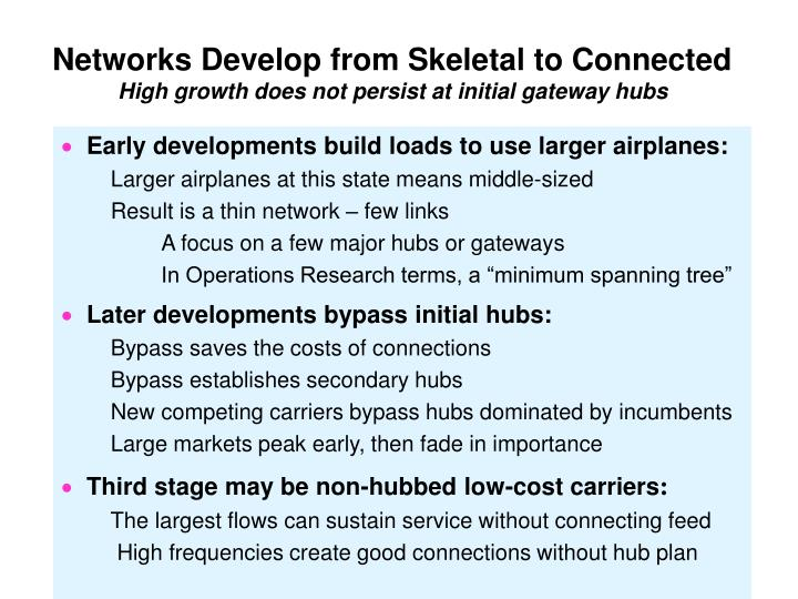 Networks Develop from Skeletal to Connected
