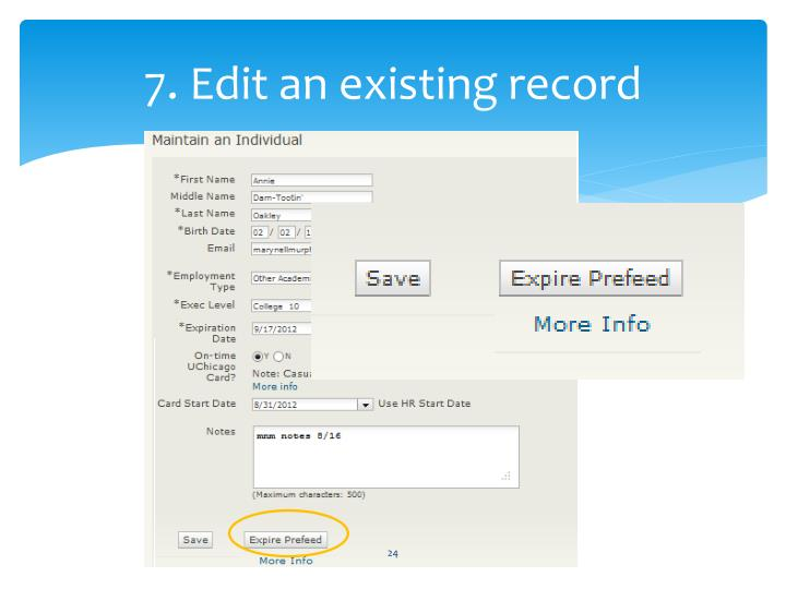 7. Edit an existing record