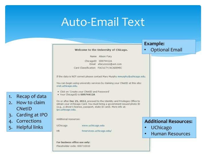 Auto-Email Text
