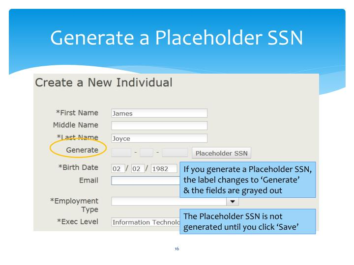 Generate a Placeholder SSN