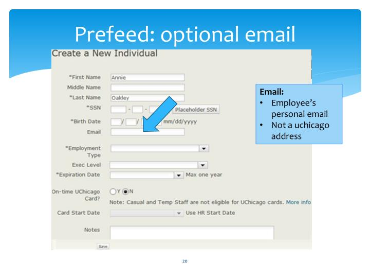 Prefeed: optional email