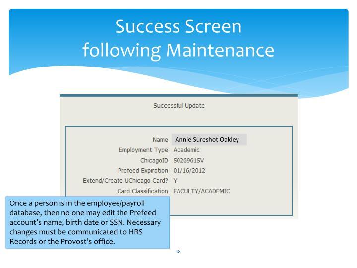 Success Screen