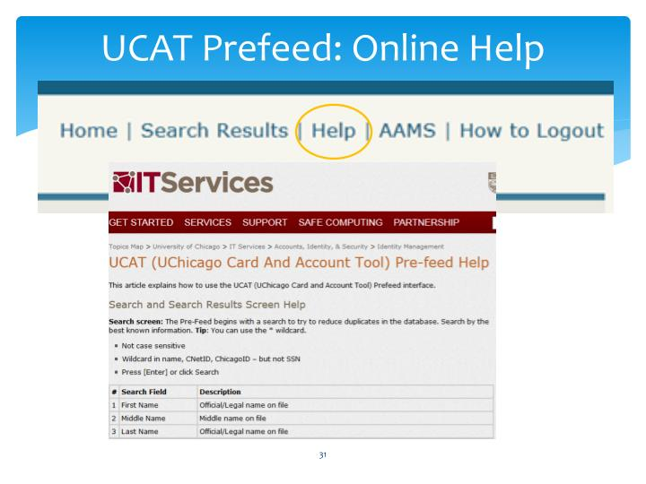 UCAT Prefeed: Online Help