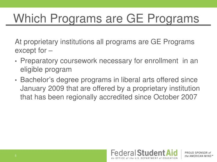 Which Programs are GE