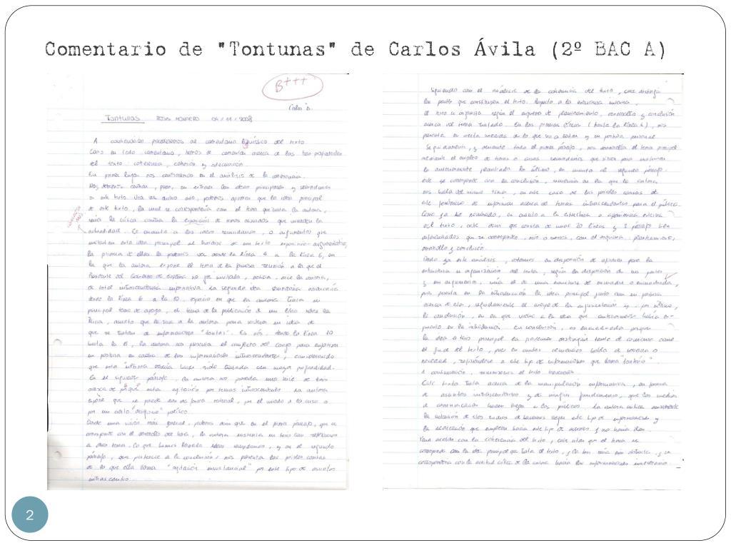 "Comentario de ""Tontunas"" de Carlos Ávila (2º BAC A)"