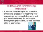 is it the same for internship interviews