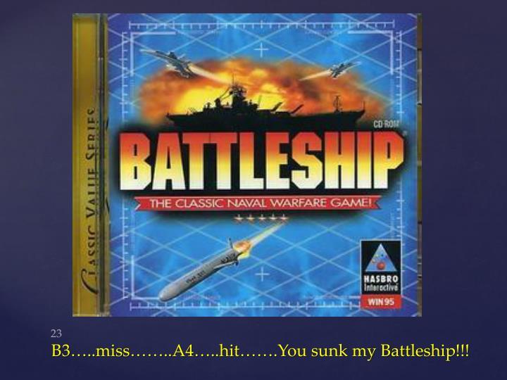 B3…..miss……..A4…..hit…….You sunk my Battleship!!!