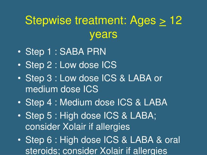 Stepwise treatment: Ages