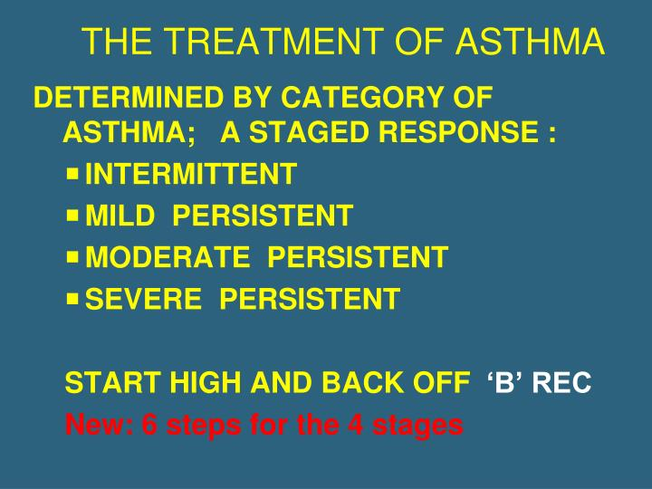 THE TREATMENT OF ASTHMA
