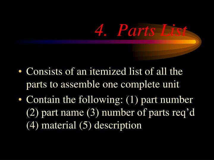 4.  Parts List
