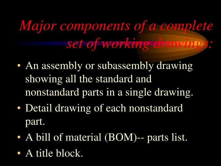 Major components of a complete set of working drawings: