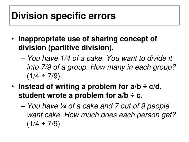 Division specific errors
