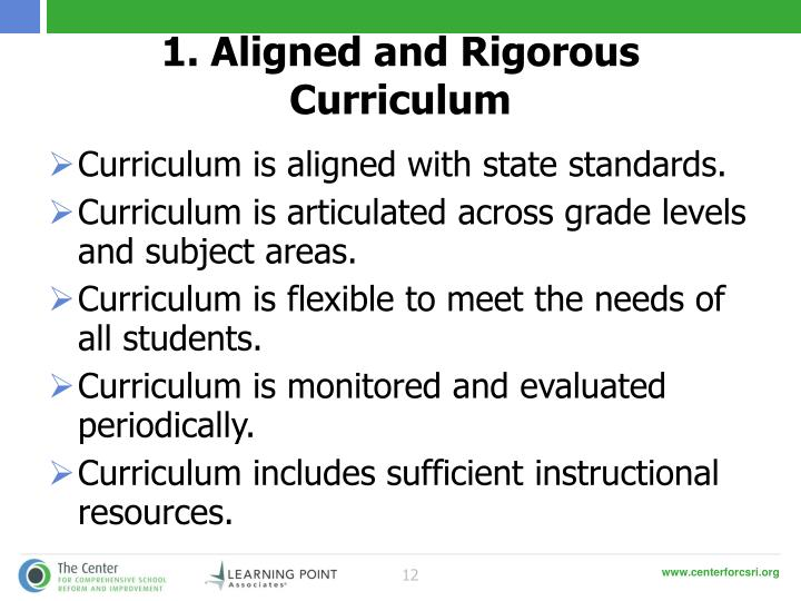 1. Aligned and Rigorous Curriculum