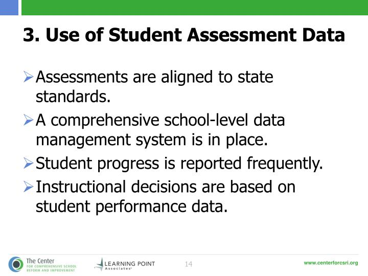 3. Use of Student Assessment Data