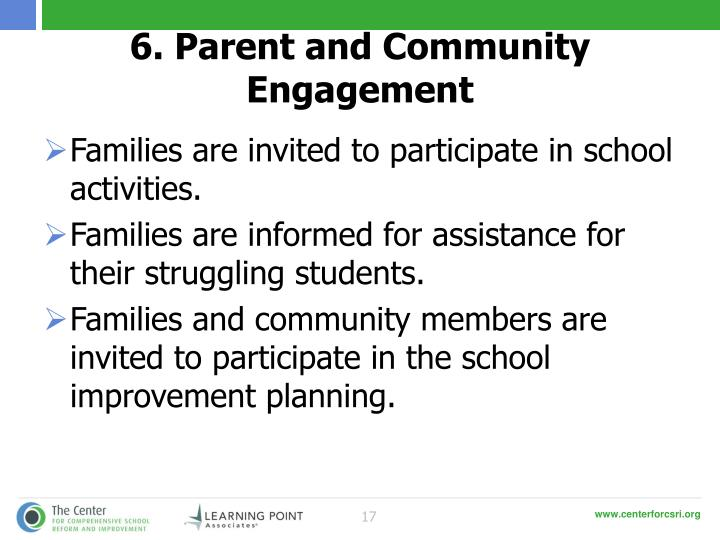 6. Parent and Community Engagement