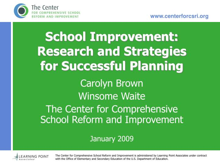 School improvement research and strategies for successful planning