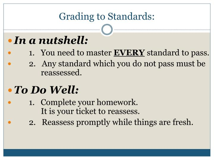 Grading to Standards: