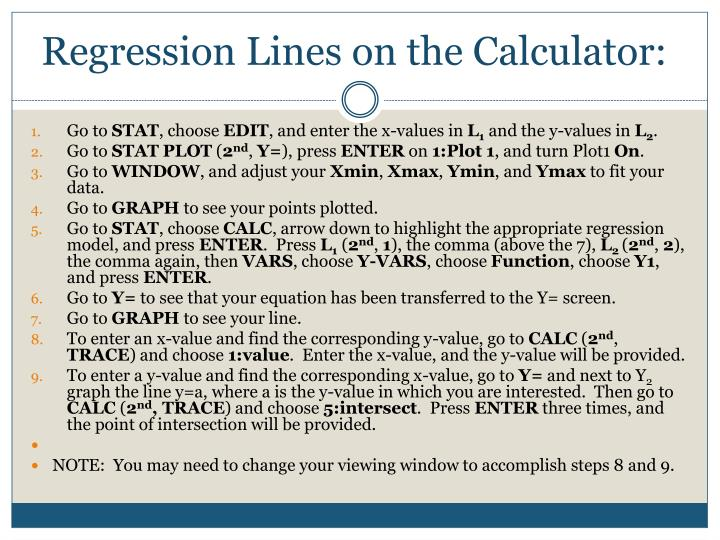 Regression Lines on the Calculator: