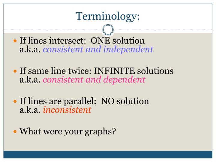Terminology: