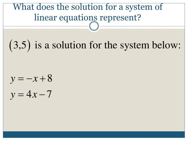 What does the solution for a system of linear equations represent?