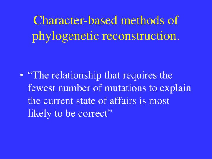 Character-based methods of phylogenetic reconstruction.