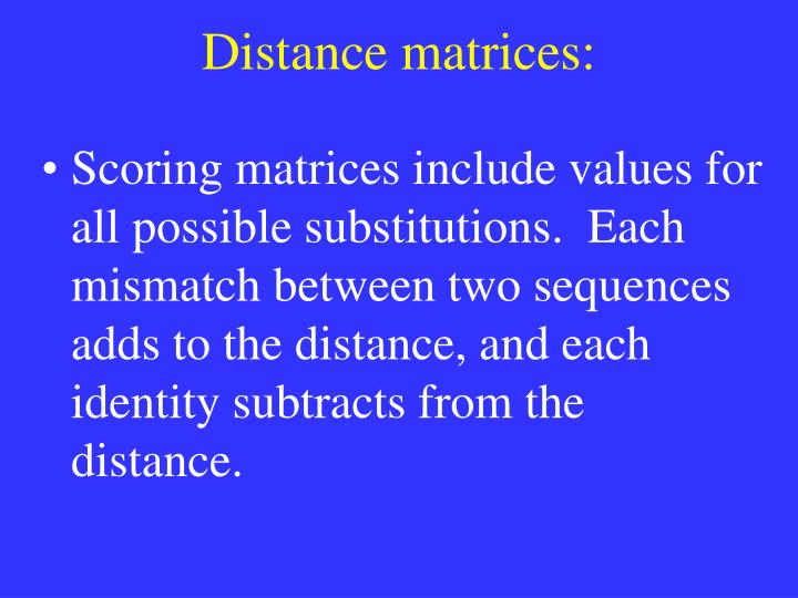 Distance matrices: