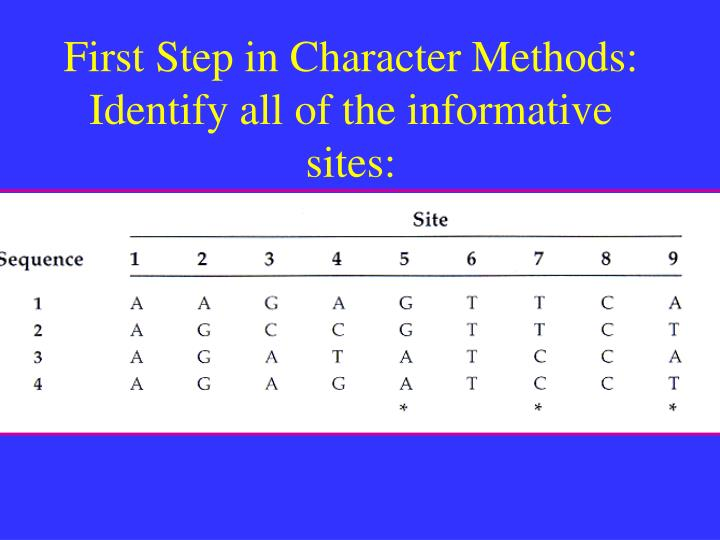 First Step in Character Methods:   Identify all of the informative sites: