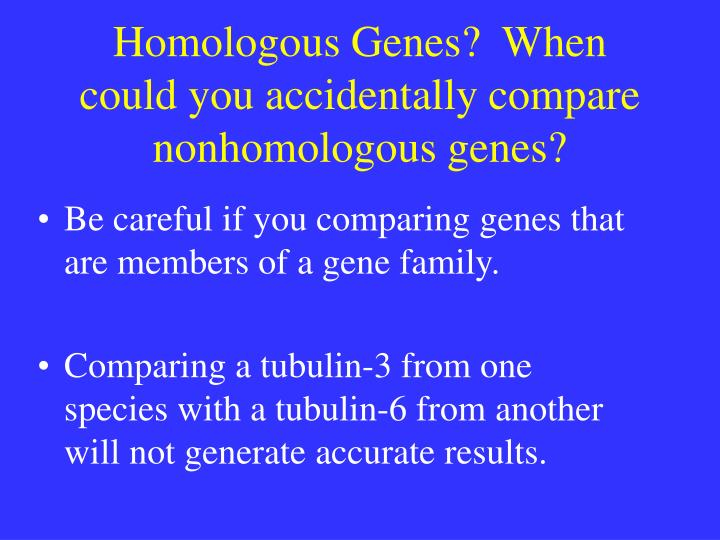 Homologous Genes?  When could you accidentally compare nonhomologous genes?
