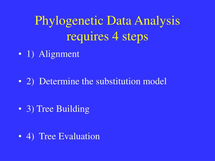 Phylogenetic Data Analysis requires 4 steps