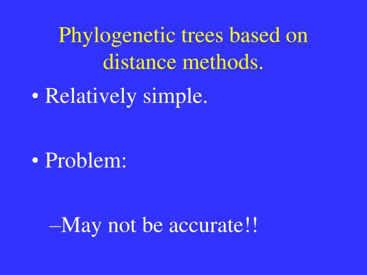 Phylogenetic trees based on distance methods.