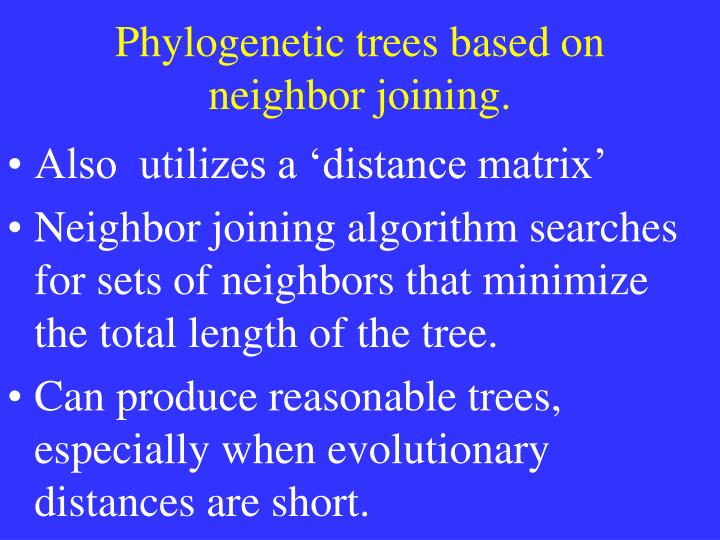 Phylogenetic trees based on neighbor joining.
