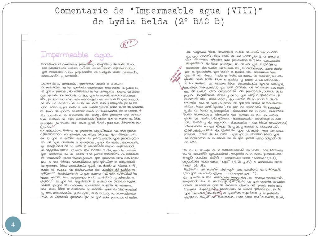 "Comentario de ""Impermeable agua (VIII)"""