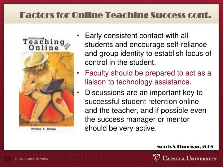 Factors for Online Teaching Success cont.