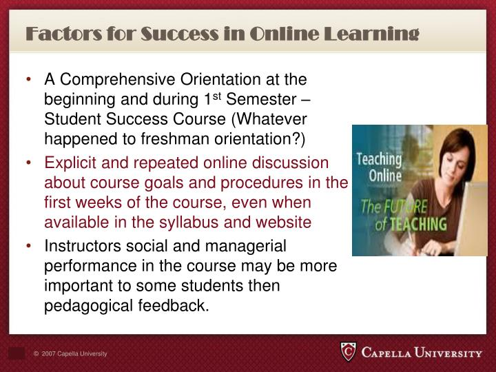 Factors for Success in Online Learning