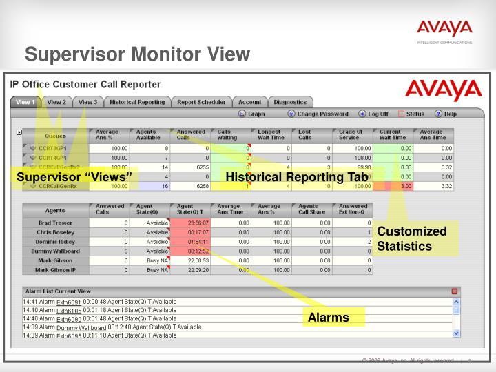 Supervisor Monitor View
