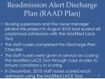 readmission alert discharge plan raad plan1
