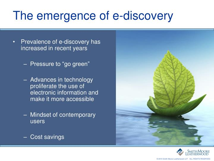 The emergence of e discovery