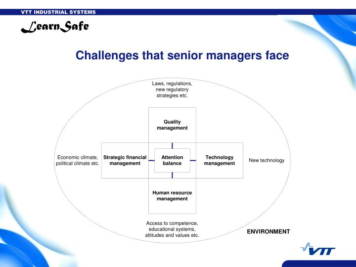 Challenges that senior managers face