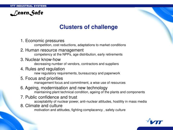 Clusters of challenge