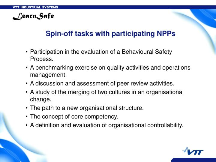 Spin-off tasks with participating NPPs