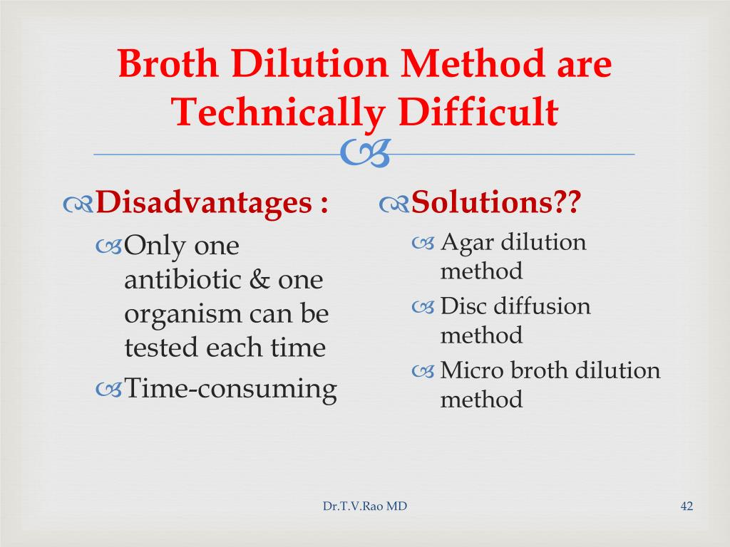 Broth Dilution Method are Technically Difficult