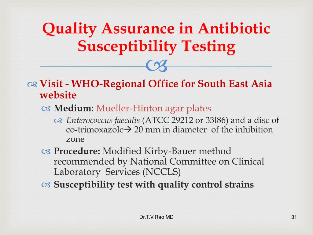 Quality Assurance in Antibiotic Susceptibility Test