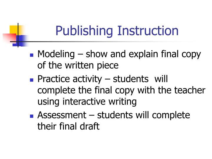 Publishing Instruction