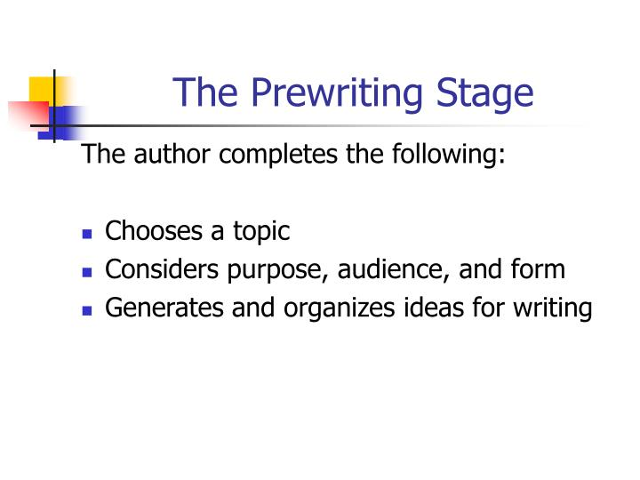 The Prewriting Stage