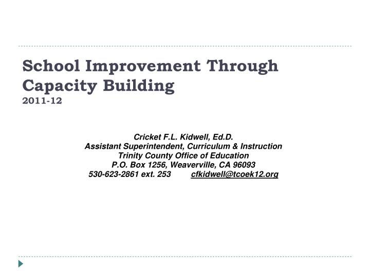 School Improvement Through Capacity Building