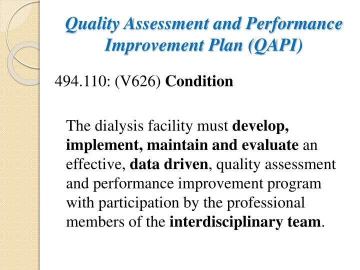 Quality Assessment and Performance Improvement Plan (QAPI)