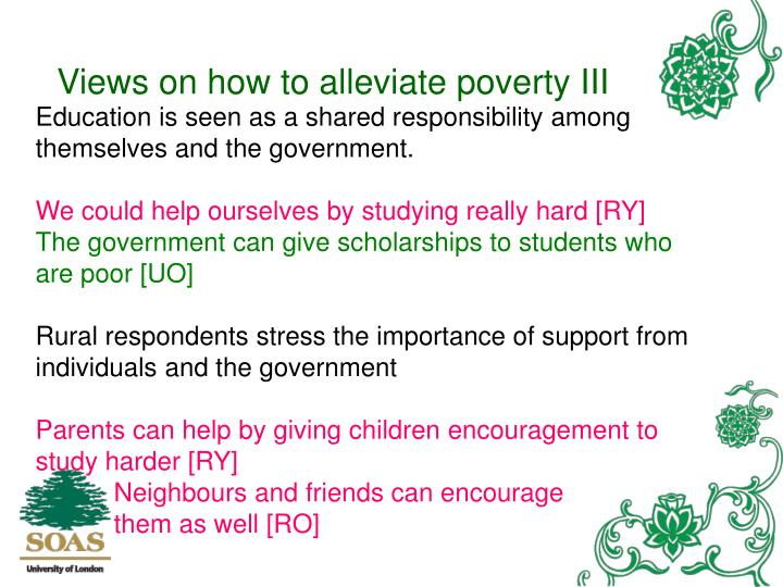 Views on how to alleviate poverty III