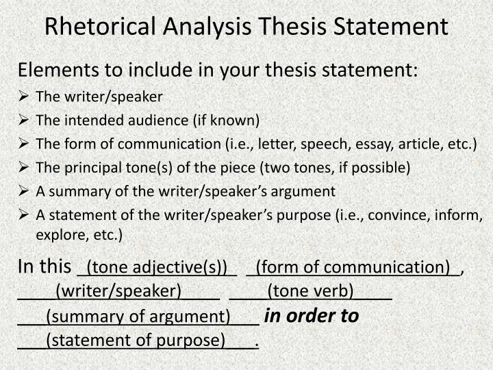 rhetorical analysis thesis statement - Example Of A Rhetorical Essay